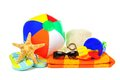 Beach collection group of colorful items over a white background Royalty Free Stock Images