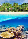 Beach with coral reef underwater view beautiful bottom and above water split Stock Photo