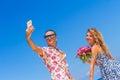 Beach couple on romantic travel honeymoon vacation summer Royalty Free Stock Photo