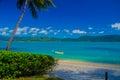 Beach on daydream island whitsunday islands view from onto the australian mainland Royalty Free Stock Photo