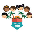 Beach design concept and summer icons vector illustration Stock Images