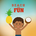 Beach design concept and summer icons vector illustration graphic Royalty Free Stock Photo