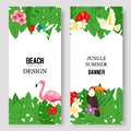 Beach design, jungle summer set of banners vector illustration. Pink flamingo and tropical palm tree leaves with flowers