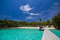 Beach dock walk way Royalty Free Stock Photo