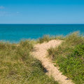 Beach dune sea view over the dover strait near calais Stock Images