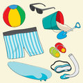 Beach equipment you bring to the Royalty Free Stock Photos