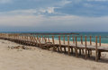Beach in esmoriz with the wooden ladder Stock Image