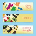 Beach fashion banners vector illustration. Summer woman s outfit. Fashion set with beach clothes and accessories. Sale