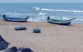 Beach with fisher boats Royalty Free Stock Photo