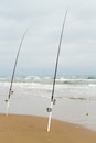 Beach fishing on south padre island Stock Photo