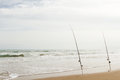 Beach fishing on south padre island Stock Photography