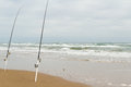 Beach fishing on south padre island Royalty Free Stock Photography