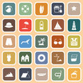 Beach flat icons on orange background stock vector Royalty Free Stock Image