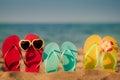 Beach flip-flops on the sand Royalty Free Stock Photo