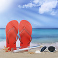Beach with flip flops sandals and bottle post in summer vacation Royalty Free Stock Photo