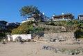 Beach front homes at Shaws Cove, Laguna Beach, California. Royalty Free Stock Photo