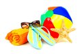 Beach fun group of colorful items over a white background Royalty Free Stock Images