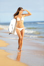 Beach fun woman surfing bodyboard summer vacation holidays travel beautiful hot girl bikini looking sea multicultural asian Royalty Free Stock Photography