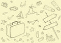 Beach gear sketch set of the things Royalty Free Stock Photo