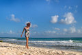 Beach girl walking Royalty Free Stock Photo