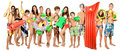Beach group large of teenagers with funny gear for kids Stock Photography