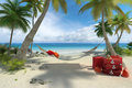 Beach, hammock and luggage Royalty Free Stock Photo