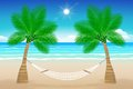 Beach with a hammock tropical hanging from palm trees illustration summer paradise Royalty Free Stock Images