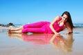 Beach happy smiling woman Royaltyfri Fotografi