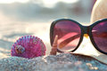 Beach hat and sunglasses Royalty Free Stock Photo