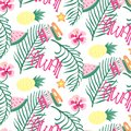 Beach Hawaii cheerful seamless pattern wallpaper of tropical dark green leaves of palm trees and flowers bird of paradise,