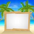 Beach holiday palm tree sign Royalty Free Stock Photo