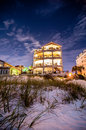 Beach hotel at night scenes the florida with super moon brightness Stock Photo