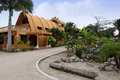 Beach hotels in ecuador traditional bamboo hotel on the Royalty Free Stock Photography