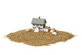 Beach house concept a closeup shot of a model in the sand for waterfront property concepts Royalty Free Stock Images
