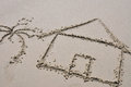 Beach house concept drawn in the sand Royalty Free Stock Photo