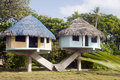 Beach houses corn island nicaragua Royalty Free Stock Photo