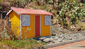 Beach hut these colored near the sea of the island maderia portugal Royalty Free Stock Photography