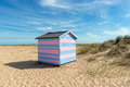 Beach hut at great yarmouth colourful by sand dunes in norfolk Stock Images