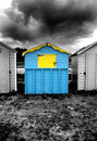 Beach hut uk at littlehampton winter day Royalty Free Stock Image