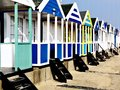 Beach huts along the seafront on a cold winter day