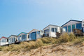 Beach huts in holland at the coast from the north sea Royalty Free Stock Image