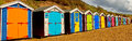Beach huts north devon beach muti coloured coast Stock Photography
