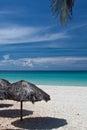 Beach huts and palm leaf