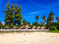 Beach huts among palm trees at thung wua laen thailand Royalty Free Stock Photo