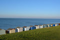 Beach huts row of along the in england Royalty Free Stock Photography
