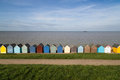 Beach huts a row of quaint wooden in herne bay kent uk Royalty Free Stock Photography