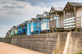 Beach huts in a row in whitstable kent Royalty Free Stock Images