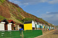 Beach huts safe at southbourne from storms these survived the recent here in dorset Stock Photo