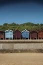 Beach huts on the seashore frinton england promenade essex Royalty Free Stock Photography