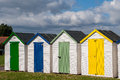 Beach huts in the seaside town of paignton in devon england Royalty Free Stock Photo